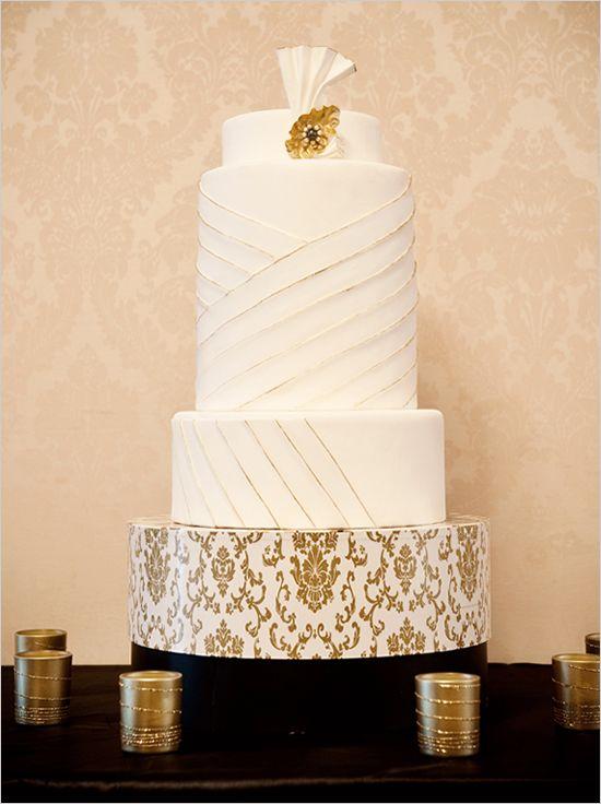 Old Hollywood glamour wedding cake