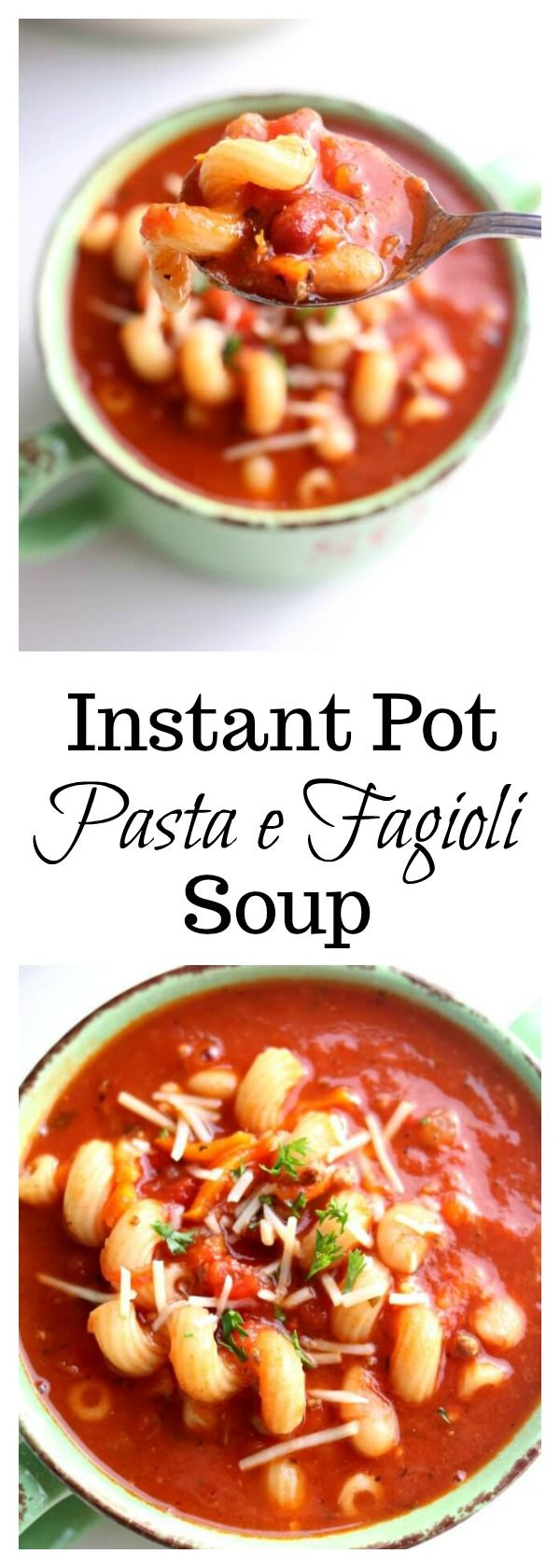 Instant Pot Pasta e Fagioli Soup–your favorite soup from Olive Garden made quickly at home in your pressure cooker. White and red beans, ground beef,  tomatoes and pasta in a savory broth.