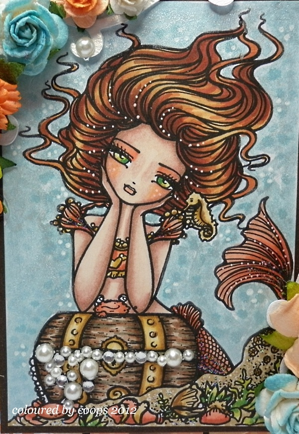"coops cluttered corner ""Chelsea"" Mermaid Treasure Chest Ocean Pearls Digi Stamp by Hannah Lynn Art HannahLynn.com <3"