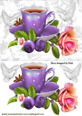PURPLE TEACUP WITH ROSE AND DOVES  on Craftsuprint - Add To Basket!