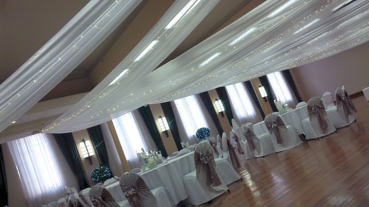 Newcastle City Hall #BanquetRoom #ceilingdrapery #fairylights #chaircovers #mushroom sashes