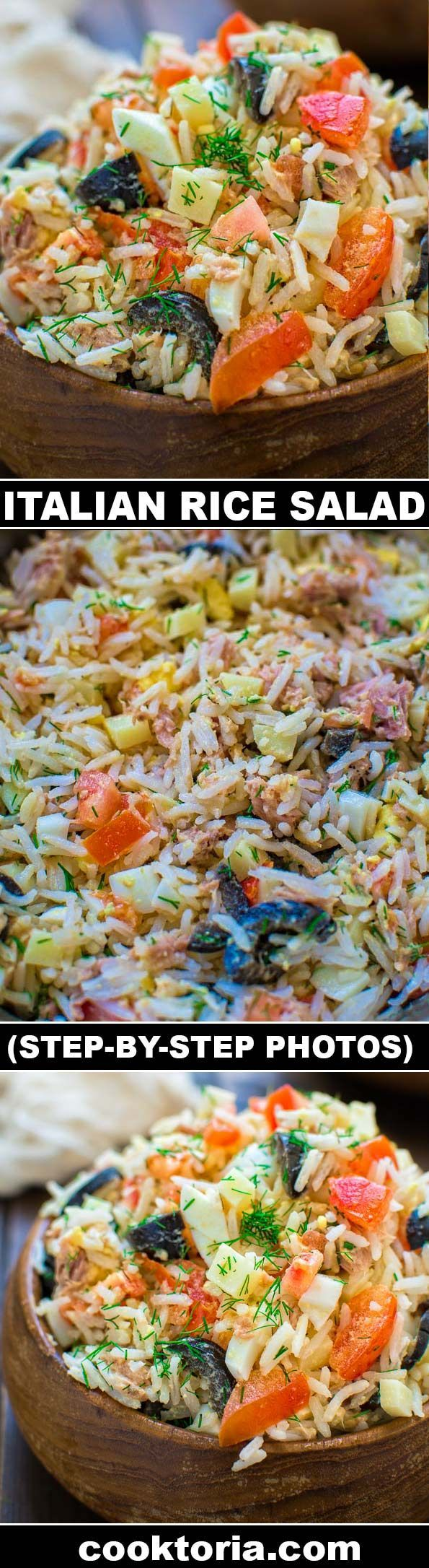 White rice mixed with tuna, fresh tomatoes, Swiss cheese, olives, and eggs, make this Italian Rice Salad a great lunch or a light dinner! ❤️ COOKTORIA.COM