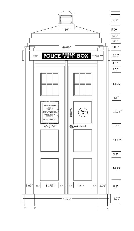 TARDIS scale drawing. I would love a Tardis book case for M's future room!