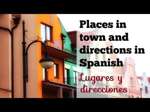 """This video covers some common places around town in Spanish and how to give directions in Spanish. It shows the names of 18 places in Spanish and some useful phrases and questions to ask and give directions and describe """"una ciudad"""" using simple adjectives and the verb SER. Find several conversations in the main Spanish lesson. Enjoy ;)"""