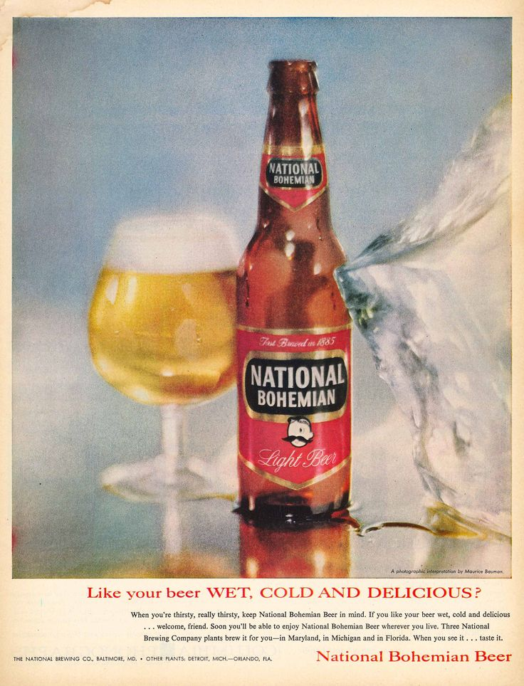 Like your beer WET COLD AND DELICIOUS? National Bohemian Beer 1959. #vintageads #Ads #vintage #PrintAd #tvads #advertising #BrandScience #influence #online #Facebook #submissions #marketing #advertising