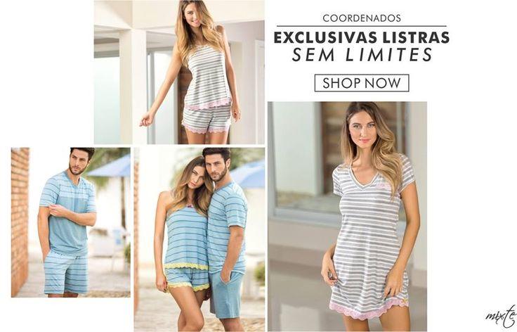 Nova coleção! Coordenados de Modal listrado exclusivo para curtir a dois! #ultimolookdodia #lindaemcasa #pijamas #modaintima #springsummer2016 #conforto #mulher #woman #primaveraverano2016