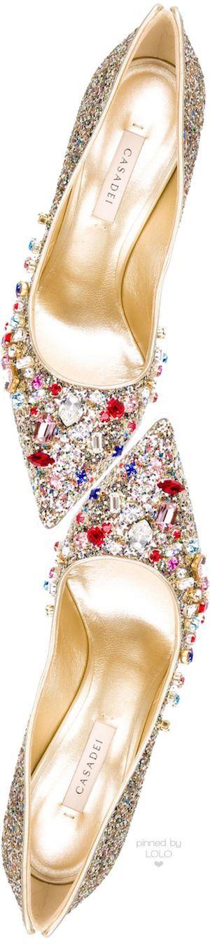 Casadei Embellished Glitter Pumps in Gold