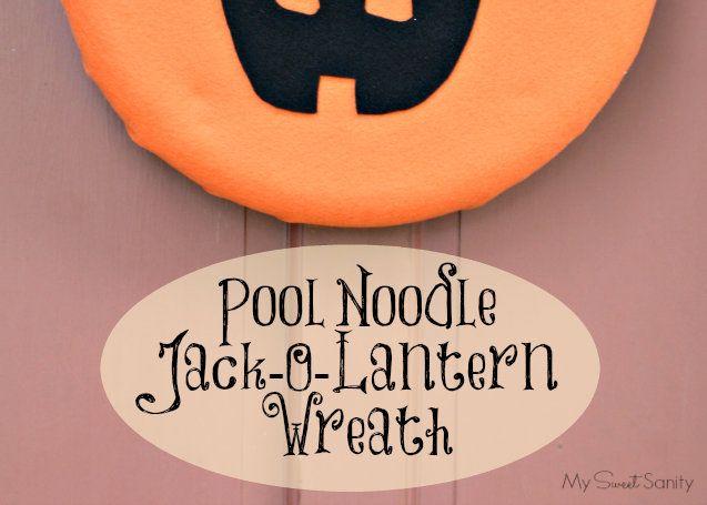 DIY Pool Noodle Halloween Jack-O-Lantern Wreath | http://www.kouponkaren.com/diy-pool-noodle-halloween-jack-o-lantern-wreath/
