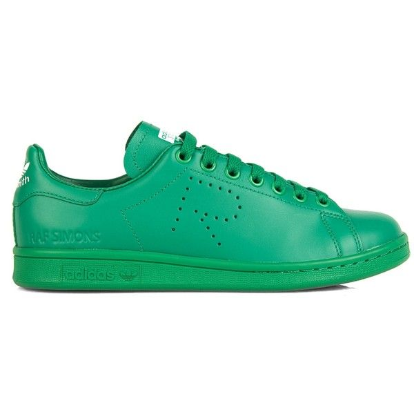 Raf Simons X Adidas Stan Smith leather trainers ($223) ❤ liked on Polyvore featuring shoes, sneakers, green, leather shoes, adidas, adidas footwear, adidas sneakers and green sneakers