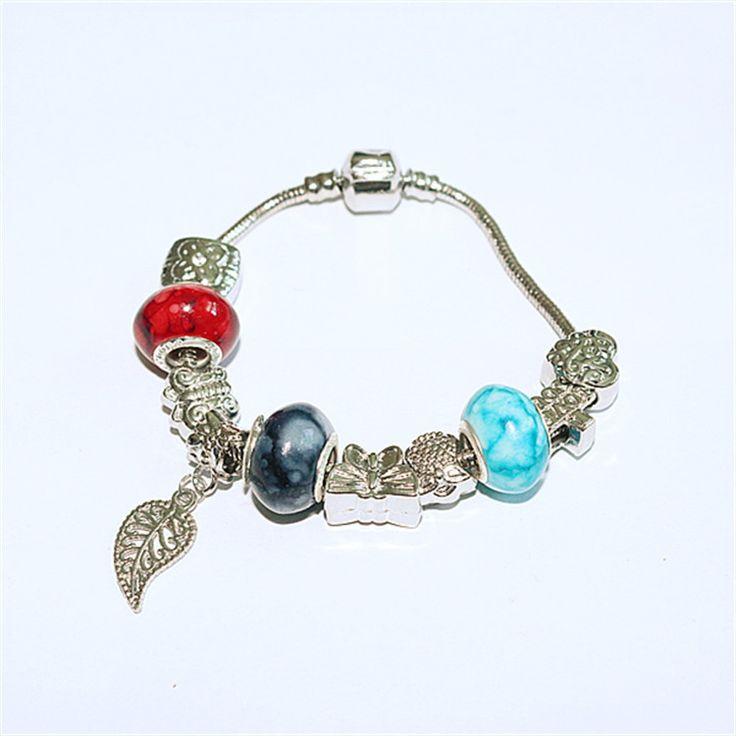 Europe Fashion Tree leaf Pendant Metal Beads Bracelet Glass Beads Bracelets Jewelry fashion Beads for women