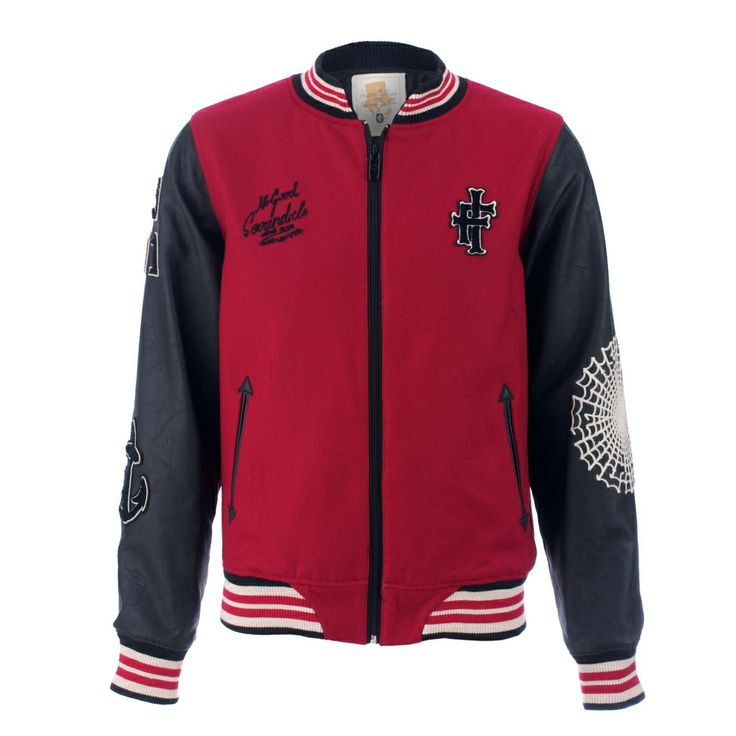 Iron Fist Men's Scoundrels Letterman Jacket Material: 50% wool, 50% Polyester, Medium and large left in stock. Alternative Clothing