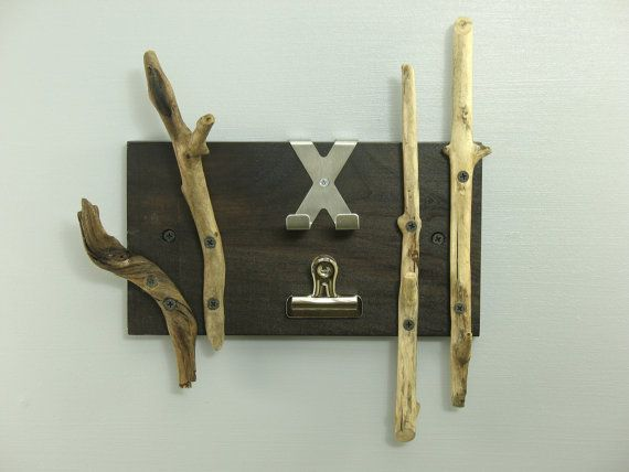 Modern rustic home office accessories || Contemporary driftwood key rack organizer with metal clip and small stainless steel shelf. The driftwood was hand-picked from the beautiful shores of the Chesapeake Bay