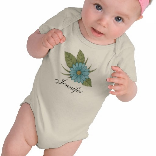 Blue Daisy personalizable Infant Organic Creeper $26.60 #baby #clothing #floral #cute