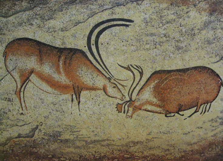 Two Reindeer, Cro-Magnon Painting from Font-de-Gaume Cave, Les Eyzies-de-Tayac-Sireuil, France c.17,000 BCE