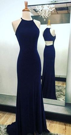 Navy Blue Sheath Halter Prom Dresses Sweep Train with Split-Side,open back prom dresses, dark blue evening dresses,Halter cocktail dresses,party dresses long