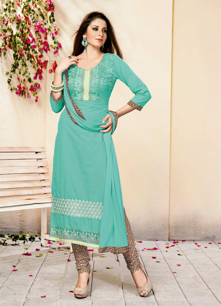 Graceful and gorgeous, this Aqua coloured dress material for women is designed as per the latest trends to keep you in sync with high fashion. Made from Cotton, it will keep you comfortable all day lo