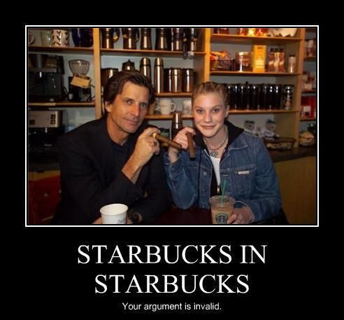 Dirk Benedict with Katee Sackhoff who each played Lt. Starbuck in  Battlestar Galactica,  The two actors who played Starbuck are in a Starbucks.  Your argument is invalid.