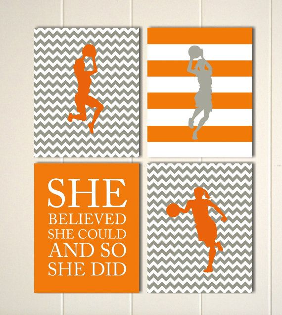Basketball wall art, dorm poster, girls motivational art, girls room art, girls bedroom, sports art, Set of 4 prints by PicabooArtStudio on Etsy, $28.00