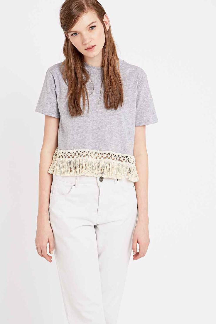 Urban Renewal Vintage Customised Boho Trim Tee in Grey - Urban Outfitters