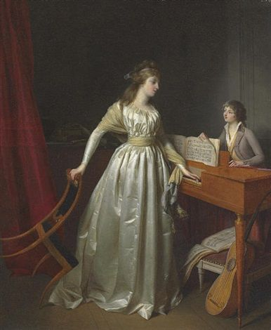 A lady at the clavichord by Jean-Simon Fournier, 1791