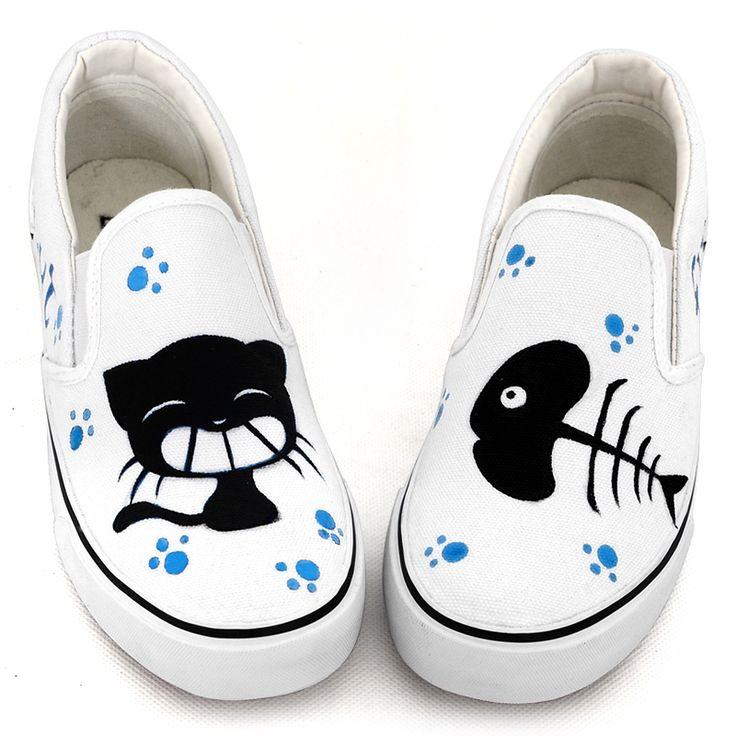 Pedal bajos cortados zapatos en las mujeres los zapatos del dedo del pie pintados a mano zapatos de lona amantes gato y pescado graffiti zapatos de moda