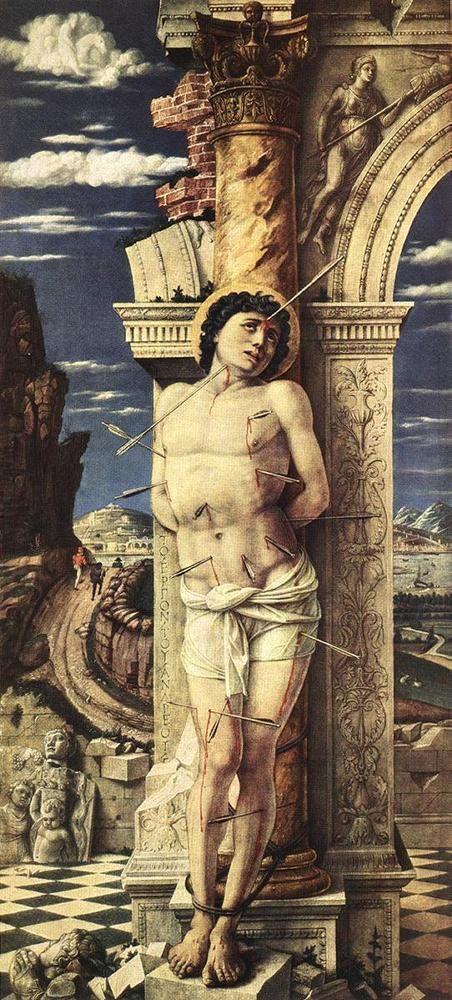 "Andrea Mantegna (1431-1506)  St Sebastian  Oil on wood  1457-1458  30 x 68 cm  (11.81"" x 26.77"")  Kunsthistorisches Museum (Vienna, Austria)"