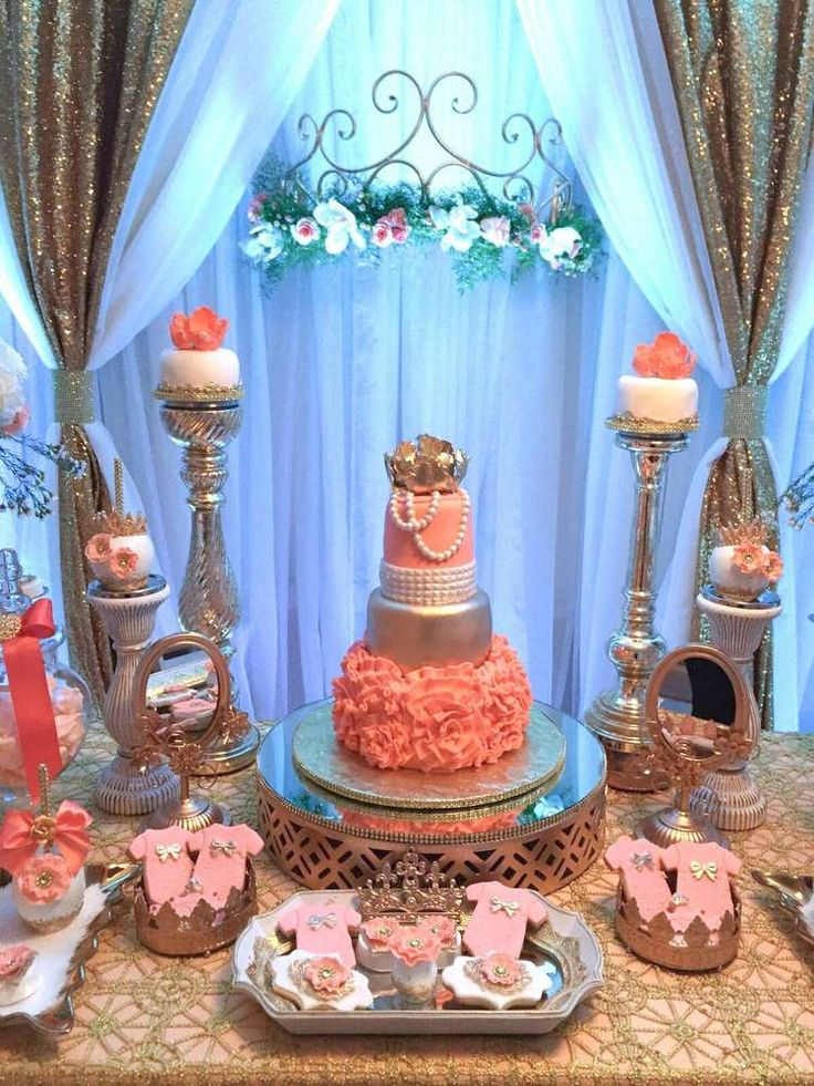 Gorgeous princess baby shower party! See more party planning ideas at CatchMyParty.com!