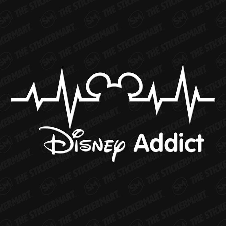 "Disney Heartbeat Disney Addict 8""x4"" Vinyl Decal"