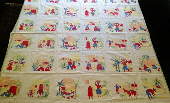 1950s Large Vintage Mexican Theme Tablecloth by LaurelCanyon1969, $67.00