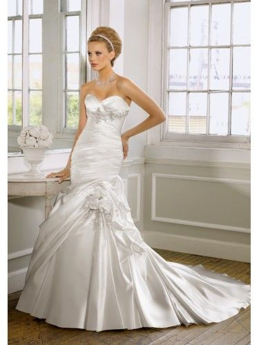 Satin Sweetheart Beaded Bodice Mermaid Wedding Dress
