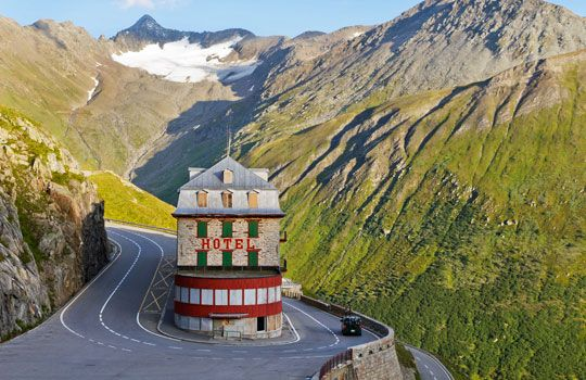 Linking the sleepy resort town of Andermatt with the village of Gletsch in the canton of Valais is the Furka Pass, a 7,992-foot-high mountain pass known for its sweeping panoramic views.