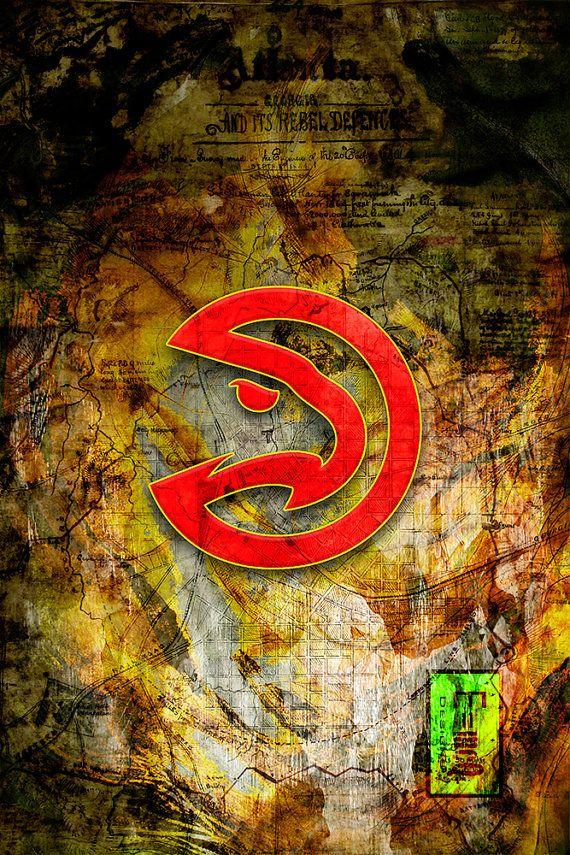 Atlanta Hawks Art Atlanta Hawks Poster Atlanta Hawks by McQDesign