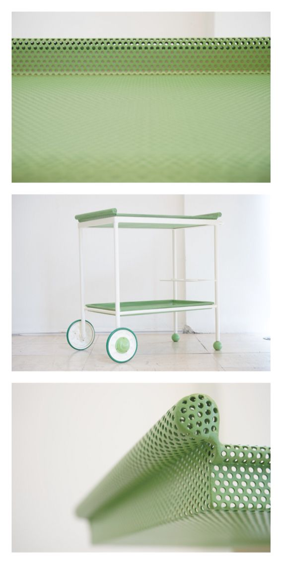 French perforated metal trolley with removable tray, c.1930.