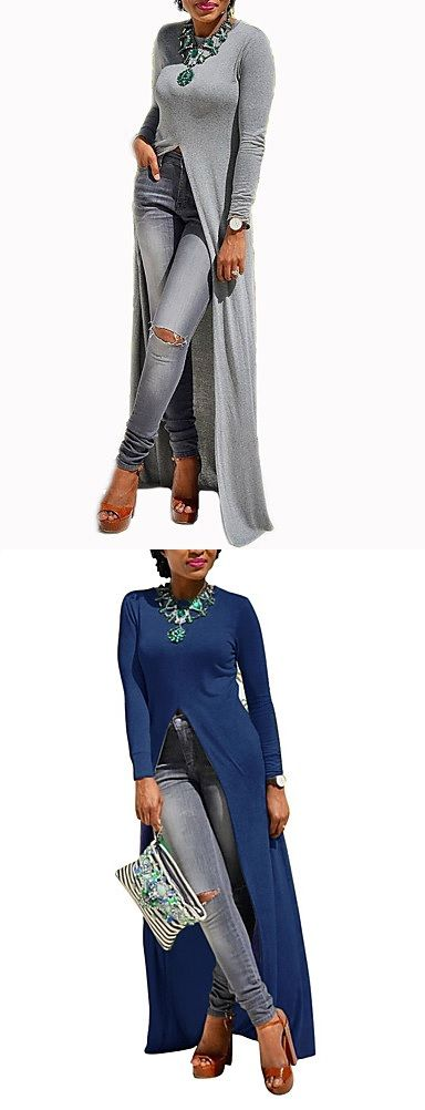 Chic trendy casual party long shirt. Wear it for your daily walks or Friday night out. Comes in grey, black, white colors at $12.14
