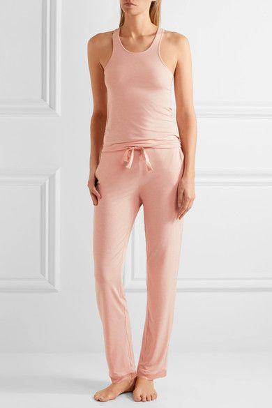 I.D. Sarrieri - Café Crème Satin-trimmed Modal-blend Jersey Pajama Pants - Pastel pink - x large