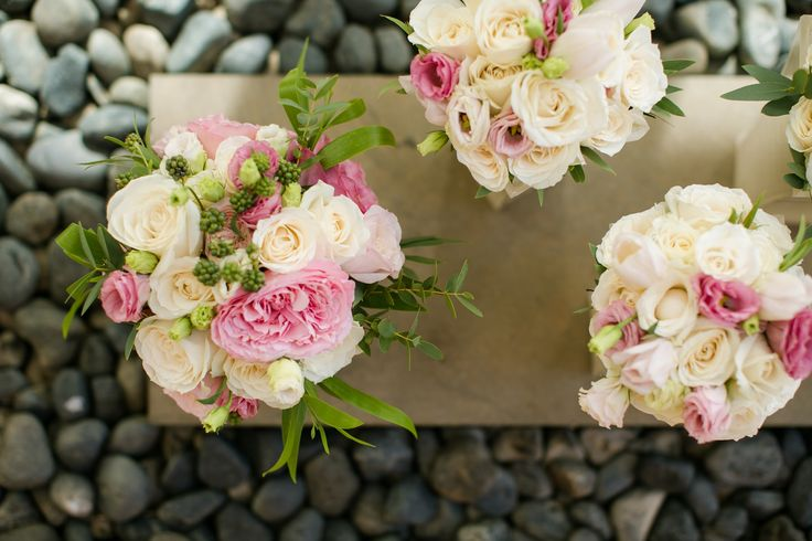 Garden Rose, Rose Lisianthus  & Wild Berries hand tied Bouquets