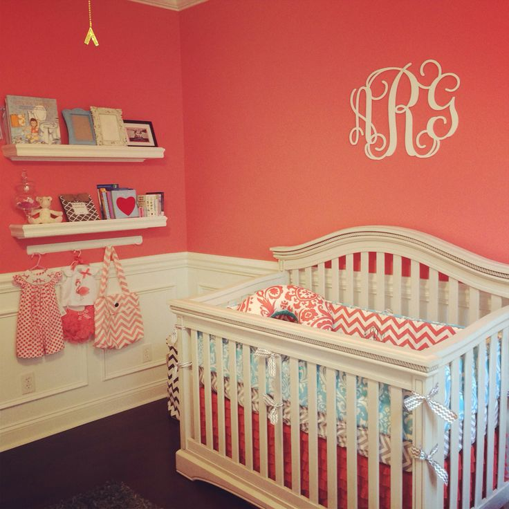 Annsley S Coral Grey And Aqua Nursery Nursery Pinterest Colors Chairs And Paint