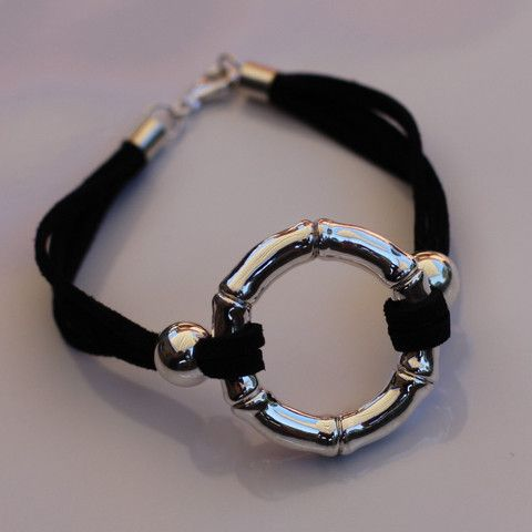 Sterling Silver and Suede Circle Bracelet - SilverBellas $72.00