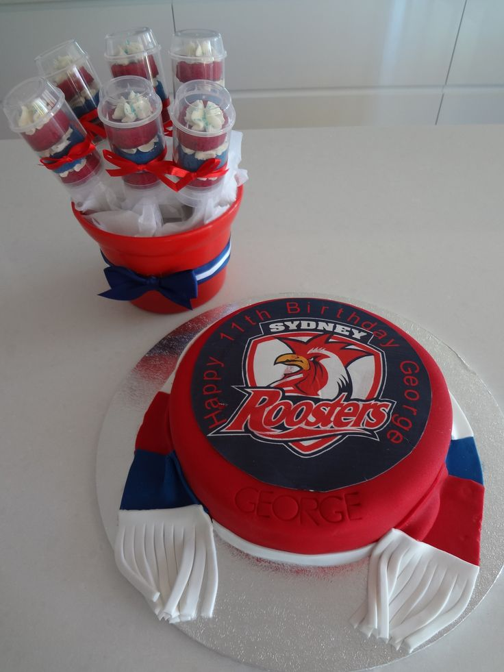 Sydney Roosters Cake with matching push pops from just cakes.com.au in Australia. Perfect for footy lovers birthday party