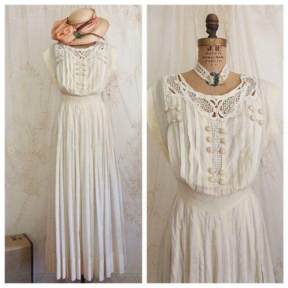 Antique Dress / Edwardian Dress /Wedding Dress / par WhynaughtShop