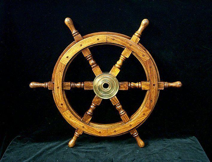 G16: Steuerrad, Schiffssteuerrad handgefertigt aus hochwertigem Holz und Messing