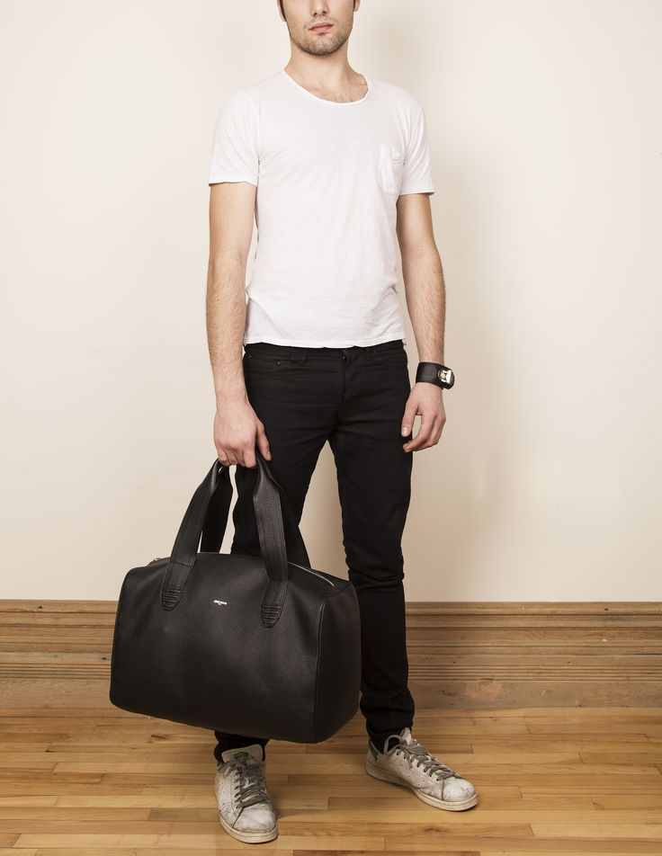 Model with our leather weekender LEWI.  www.jeromebocchio.com