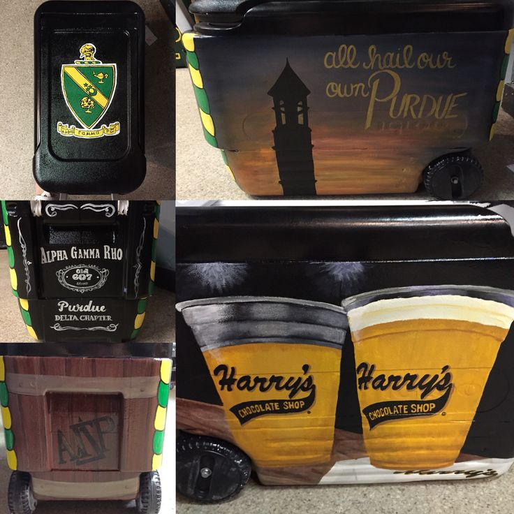 Alpha Gamma Rho Purdue painted cooler