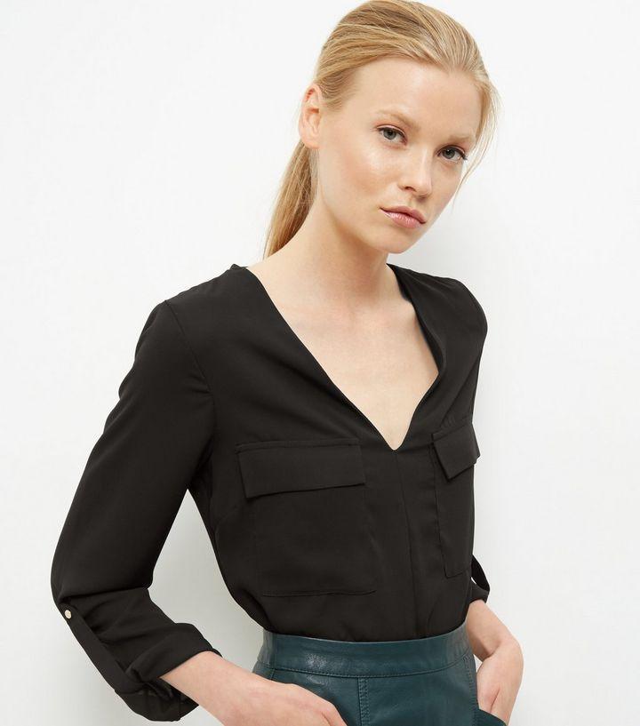 Black Rolled Sleeve Bodysuit | New Look
