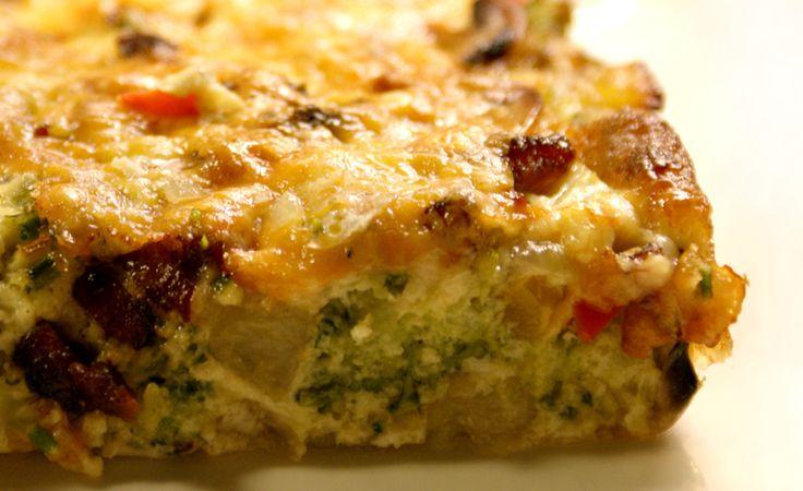 Oven-baked broccoli potato mushroom cheddar omelette
