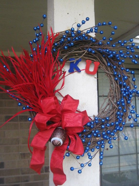 University of Kansas KU Football Door Wreath by HanginPretty