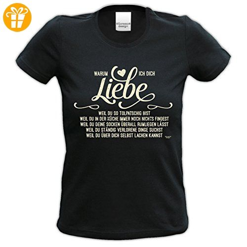 Geburtstagsgeschenk für Frauen Girlie T-Shirt mit Aufdruck:Warum ich Dich liebe Farbe: schwarz Gr: XXL (*Partner-Link)
