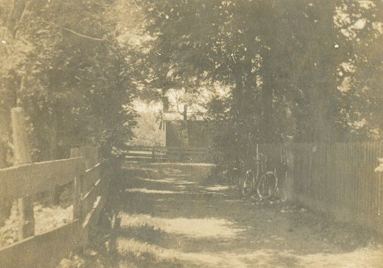 A view of the rectory lane on the original site of Trinity College School in Weston, Ontario (the school was moved to Port Hope, Ontario, in 1868). The vestry of the church can be seen at the end of the lane. William Osler was a student and prefect at Trinity College School from 1866 to 1867.