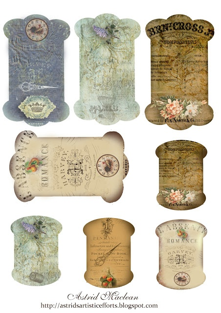 Free pattern designs for making cards to wind your ribbon around - from Astrid's Artistic Efforts (she offers many vintage-look papers, cards, tags, etc.)