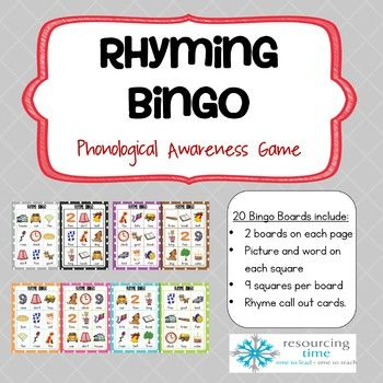 Rhyme Bingo fun for the whole class or small groups! Rhyme Bingo consists of 20 game boards, each with 9 images/words plus 24 Rhyme Call Out Cards. There are two bingo boards per page. Rhyme Bingo is a great way for your students to consolidate the phonological awareness skill of rhyming.